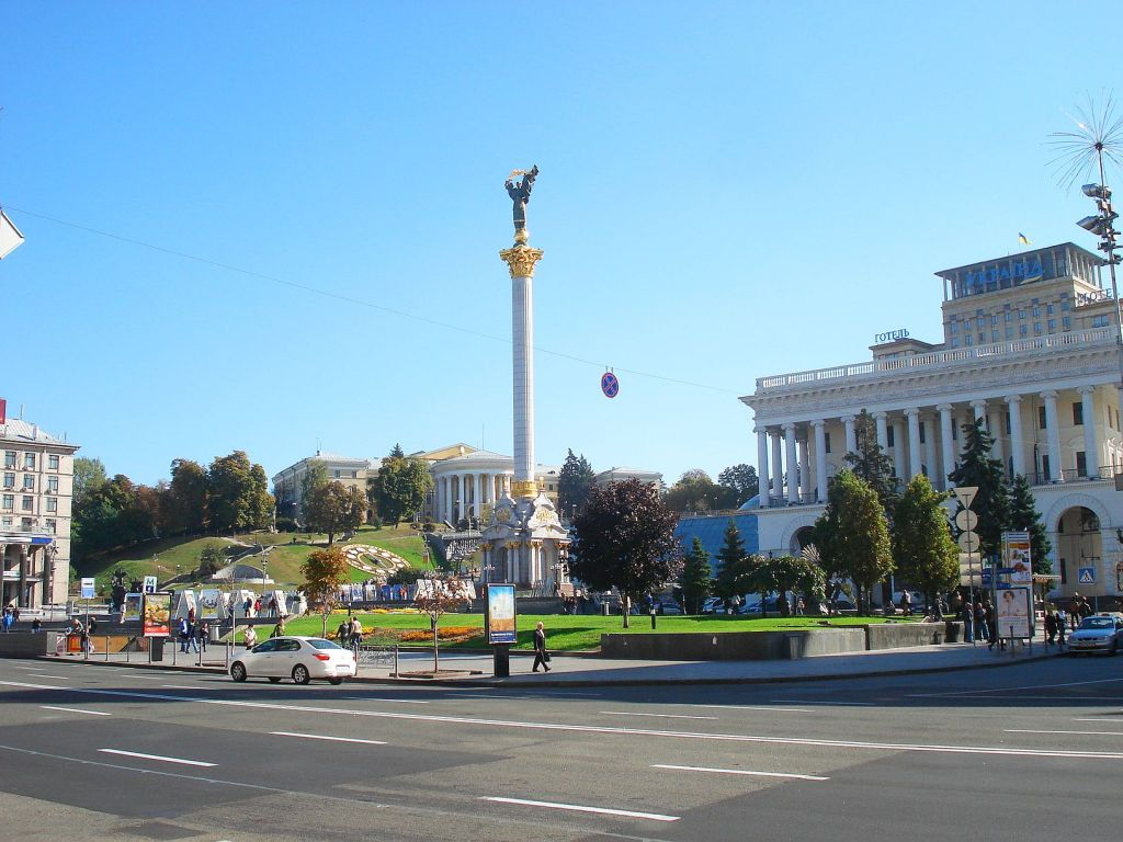Rebuilt and now shining in new glory: Maidan square, Kiev.