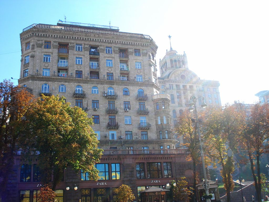 Sun drenched residential building on Khreshatyk Boulevard, Kiev's prime residential location.