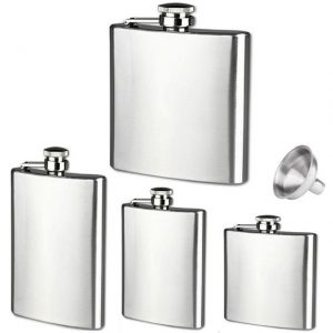 Stainless steel hip flasks featuring a funnel. From top to bottom: 532 ml, 295 ml, 236 ml, 177 ml. Photo: aliexpress.com