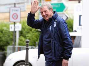Not a retirement home-dweller in plimsolls, but the head coach of the English national team: Roy Hodgson waving at press after the EURO 2016. Photo: sportinglife.com