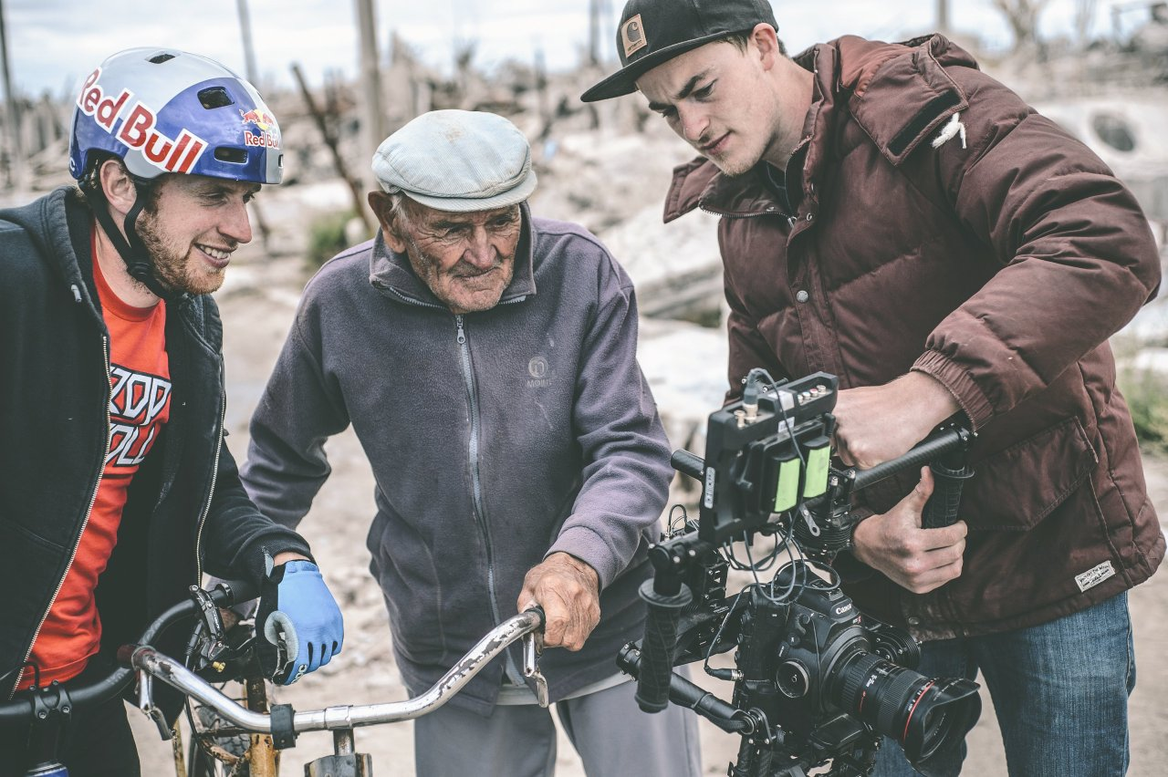 Danny MacAskill seen behind-the-scene for his new project at the abandoned village of Epecuén, Argentina on March 19th 2014. Photo: Fred Murray / Red Bull Content Pool
