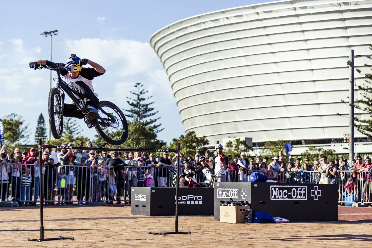 Danny MacAskill performs at the Engen Cycle during the City festival in Cape Town, South Africa on 7 November 2015. Photo: Nick Muzik/Red Bull Content Pool